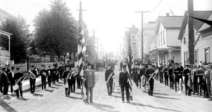 Band marching in the Astoria Centennial Parade, 1911.