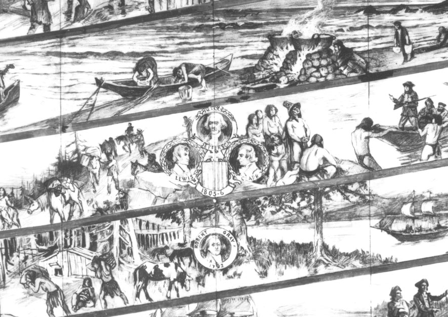 Detail of Pusterla's drawings for the Astoria Column mural