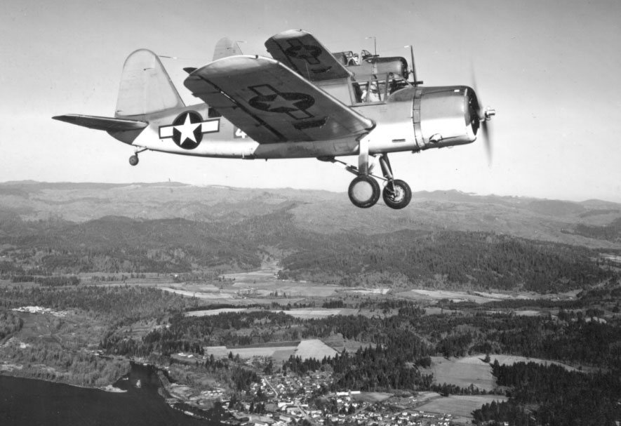 "WWII 052U ""Kingfisher"" pilot training over Astoria."