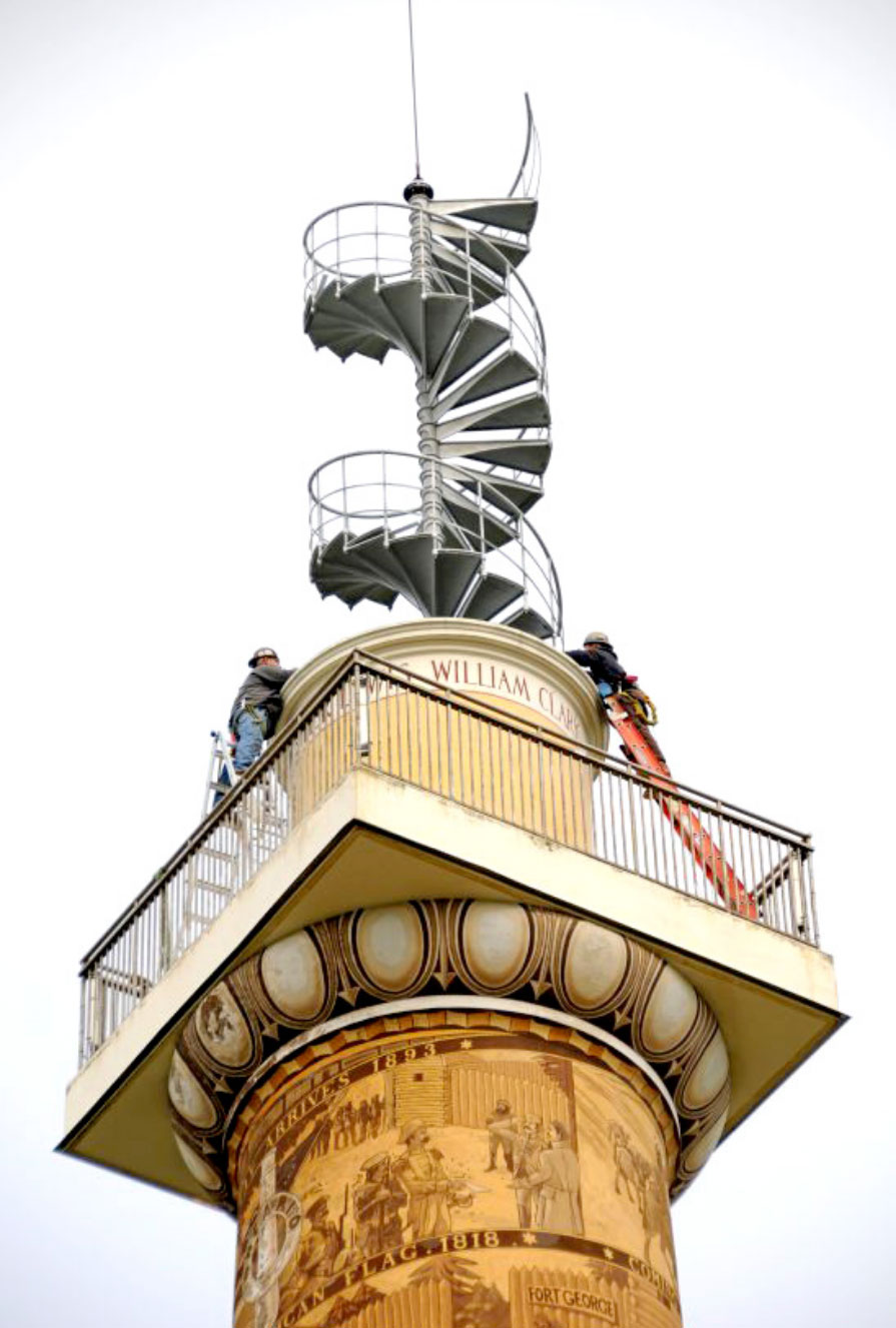 Lowering a new staircase into the Astoria Column in 2004