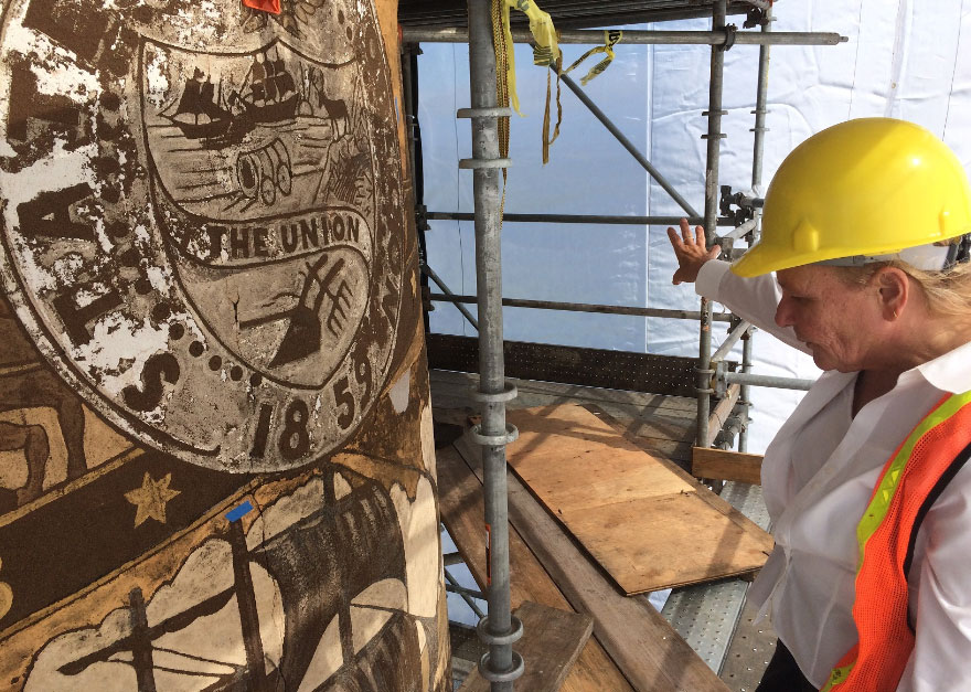 A restoration officer discusses their work on the Astoria Column