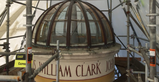 Astoria Column dome under restoration